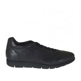 Zapato deportivo con cordones para hombres en piel negra - Tallas disponibles:  46, 47, 48, 49, 50, 51, 52