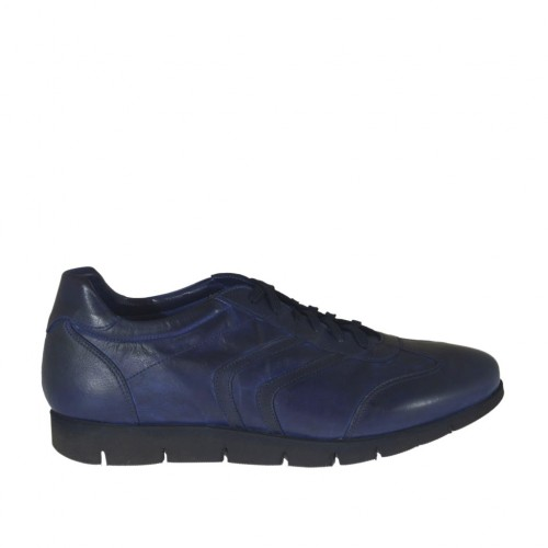 Men's laced sports shoe in blue-black leather - Available sizes:  47, 51