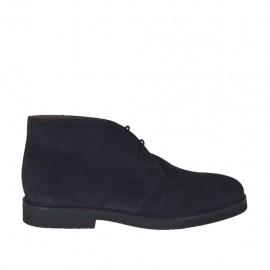 Chaussure à lacets pour hommes en daim bleu foncé - Pointures disponibles:  46, 47, 48, 49, 50, 51, 52