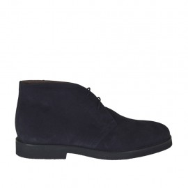 Men's laced shoe in dark blue suede - Available sizes:  46, 47, 48, 49, 50, 51, 52