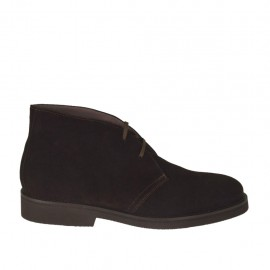 Men's laced shoe in brown suede - Available sizes:  46, 47, 48, 49, 50, 51, 52