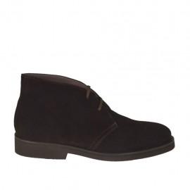 Zapato con cordones para hombre en gamuza marron - Tallas disponibles:  46, 47, 48, 49, 50, 51, 52