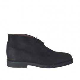Chaussure à lacets pour hommes en cuir nubuck noir - Pointures disponibles:  46, 47, 48, 49, 51, 52