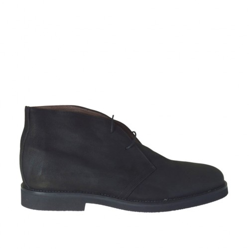 Men's laced shoe in black nubuck leather - Available sizes:  47, 49