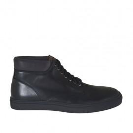 Chaussure sportif à la cheville avec lacets pour hommes en cuir noir - Pointures disponibles:  46, 47, 48, 49, 50, 51