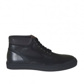 Men's laced ankle-high shoe in black leather - Available sizes:  46, 47, 48, 49, 50, 51