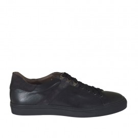 Men's laced sports shoe in black leather and grey suede - Available sizes:  47, 48, 49, 50, 51