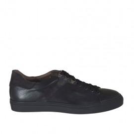 Zapato deportivo para hombre con cordones en piel negra y gamuza gris - Tallas disponibles:  47, 48, 49, 50, 51
