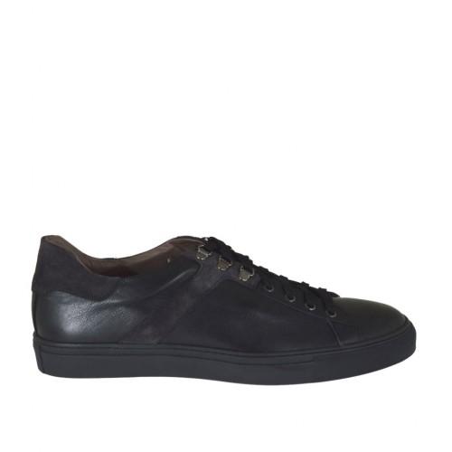 Chaussure sportif pour hommes à lacets en cuir noir et daim gris - Pointures disponibles:  47