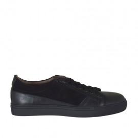 Chaussure sportif à lacets avec fermeture éclair pour hommes en cuir et daim noir - Pointures disponibles:  46, 47, 48, 49, 50, 51