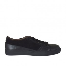 Men's laced sports shoe with zipper in black leather and suede - Available sizes:  46, 47, 48, 49, 50, 51