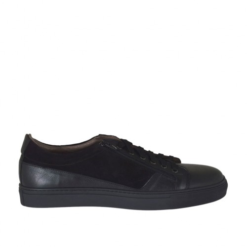Men's laced sports shoe with zipper in black leather and suede - Available sizes:  47