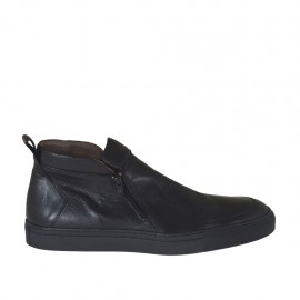 Men's casual shoe with zippers in black leather - Available sizes:  46, 47, 48, 49, 50, 51