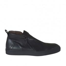 Zapato deportivo para hombres con cremalleras en piel negra - Tallas disponibles:  46, 47, 48, 49, 50, 51