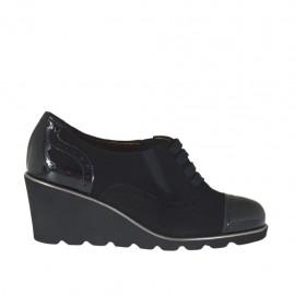 Zapato para mujer con cordones y elasticos en gamuza y charol negro cuña 6 - Tallas disponibles:  34, 42, 43, 44, 45