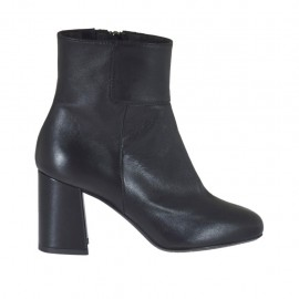 Woman's ankle boot in black leather with zipper and elastic band heel 7 - Available sizes:  32, 42, 43, 44, 45