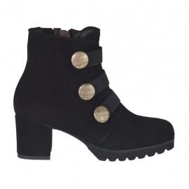 Botines para mujer con cremallera, elasticos y botones en gamuza negra tacon 5 - Tallas disponibles:  32, 33, 42, 43, 45