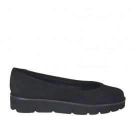Woman's ballerina shoe in black nubuck leather wedge heel 3 - Available sizes:  33, 34, 42, 43, 45, 46, 47
