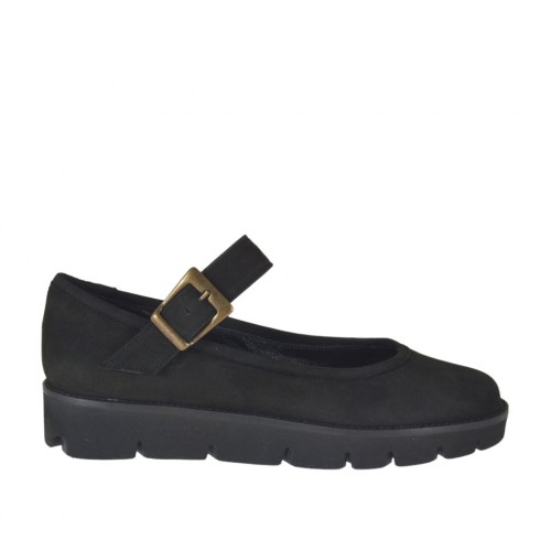 Woman's ballerina shoe in black nubuck leather with strap wedge heel 3 - Available sizes:  43