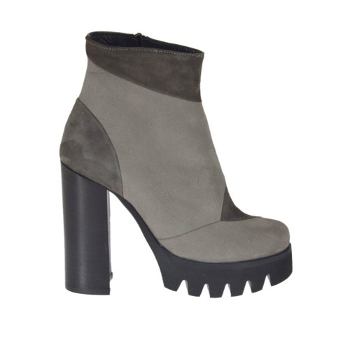 Woman's ankle boot with zipper in light and dark grey nubuck leather and suede heel 10 - Available sizes:  42