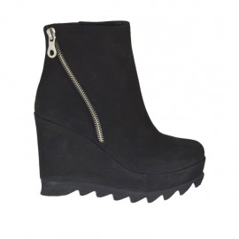 Woman's ankle boot with zipper and platform in black nubuck leather wedge heel 9 - Available sizes:  32, 33, 34, 42, 43, 44