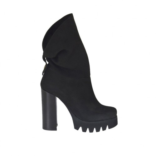Woman's ankle boot with zipper in black nubuck leather heel 10 - Available sizes:  42