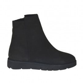 Woman's ankle boot with zipper in black nubuck leather wedge heel 3 - Available sizes:  33, 34, 43, 45