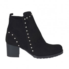 Woman's ankle boot with zipper and studs in black suede heel 5 - Available sizes:  33, 34, 42, 43, 44, 45