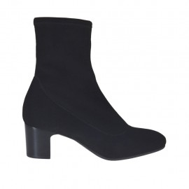 Woman's ankle boot in black elastic fabric heel 5 - Available sizes:  32, 34