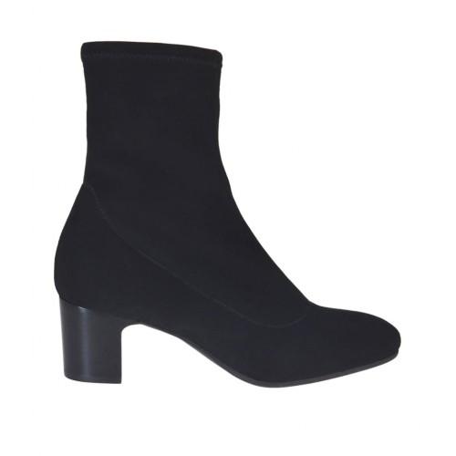 Stivaletto da donna in tessuto elasticizzato nero tacco 5 - Misure disponibili: 32, 34