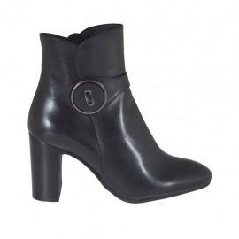 Botines para mujer con cremallera y boton en piel negra tacon 7 - Tallas disponibles:  31, 32, 33, 34, 42, 43, 44, 45