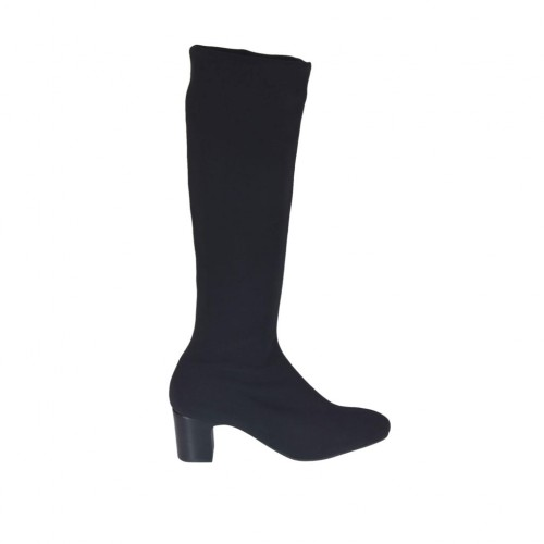 Woman's boot in black elastic fabric heel 5 - Available sizes:  32, 33, 42, 44