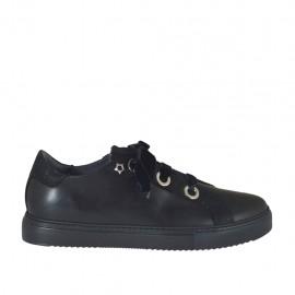 Chaussure en cuir et glitter noir avec lacets en velours talon compensé 3 - Pointures disponibles:  42, 43, 45