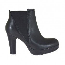Woman's ankle boot with elastic bands and platform in black leather heel 8 - Available sizes:  33, 34, 43, 44, 45