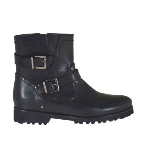 Woman's ankle boot with zipper, buckles and studs in black leather heel 3 - Available sizes:  33