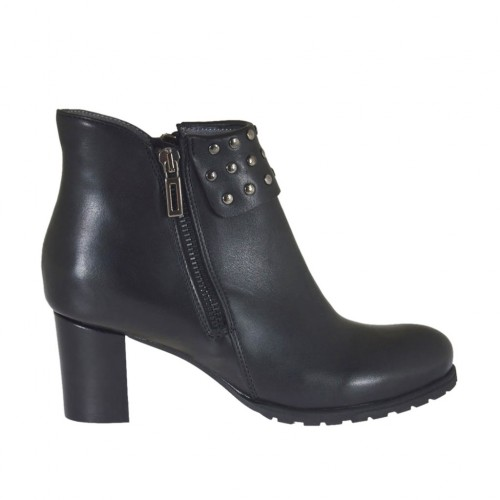 Woman's ankle boot with zippers and studs in black leather heel 5 - Available sizes:  43, 44, 45, 46