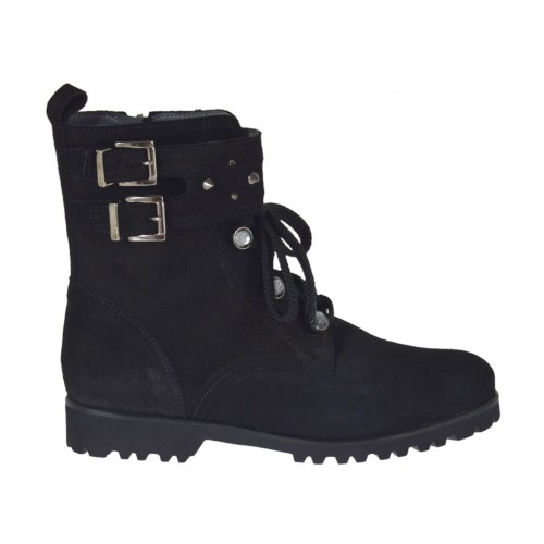 Woman's laced ankle boot with zipper, studs, rhinestones and buckles in black suede heel 3 - Available sizes:  33, 34