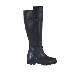 Woman's boot with zipper, buckles and studs in black leather heel 3 - Available sizes:  42, 43, 44