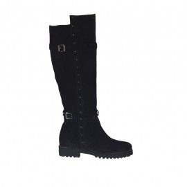 Woman's boot with zipper, buckles and studs in black suede heel 3 - Available sizes:  43, 44