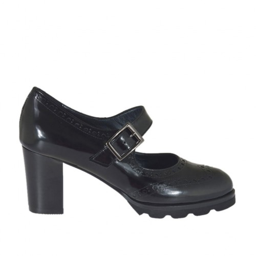 Woman's pump with strap in black brush-off leather heel 6 - Available sizes:  44
