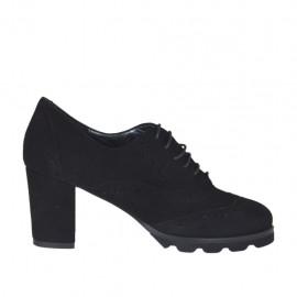 Hochgeschlossener Oxfordschuh mit Schnürsenkeln für Damen aus schwarzem Wildleder Absatz 6 - Verfügbare Größen:  42, 43, 44