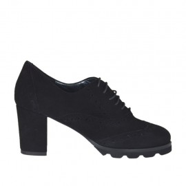 Woman's highfronted laced Oxford shoe in black suede heel 6 - Available sizes:  32, 33, 34, 42, 43, 44