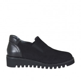 Hochgeschlossener Damenschuh mit Gummibändern aus schwarzem Leder und Wildleder Keilabsatz 3 - Verfügbare Größen:  33, 34, 42, 43