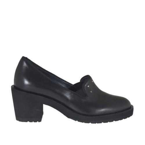 Scarpa accollata da donna con elastici e borchie in pelle nera tacco 6 - Misure disponibili: 32, 42, 43, 44