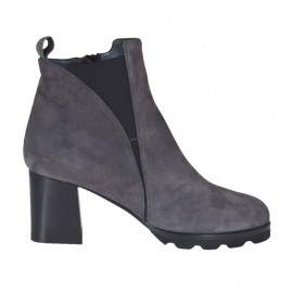 Woman's ankle boot with elastic band and zipper in grey suede heel 6 - Available sizes:  32, 33, 42, 43, 44