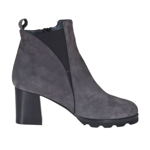 Woman's ankle boot with elastic band and zipper in grey suede heel 6 - Available sizes:  44