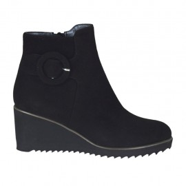Woman's ankle boot with zipper and buckle in black suede wedge heel 6 - Available sizes:  32, 34, 42, 43, 44