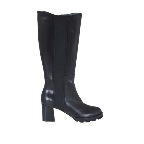 Woman's boot with elastic band and zipper in black leather heel 6 - Available sizes:  32, 33, 42, 43