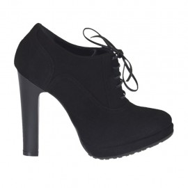 Woman's laced shoe with platform in black suede heel 10 - Available sizes:  31