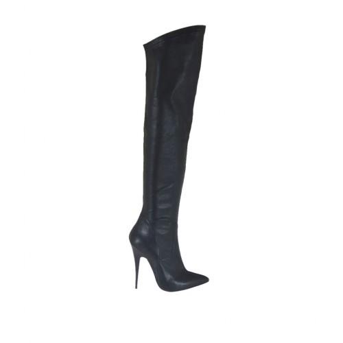 Stivale a punta alto al ginocchio da donna in pelle ed elasticizzato nero tacco 11 - Misure disponibili: 31, 32